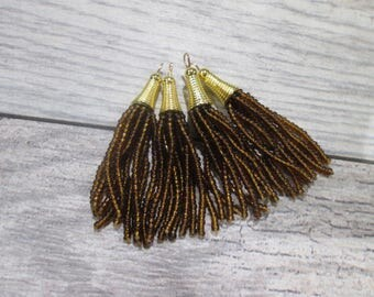 """Beaded Tassel Pendants with gold detail in TOPAZ BROWN  2 1/2"""" beaded glass tassels perfect for Earrings and Jewelry Making"""