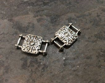 Silver Filigree Connectors package of 2 great for leather, ribbon or velvet cord or multi strand jewelry Slide Connector