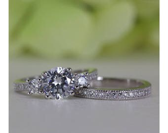 1.00 Ct. Micropavé Vintage Style Three-Stone Cubic Zirconia Engagement Ring Set In Rhodium Plated Sterling Silver | #004