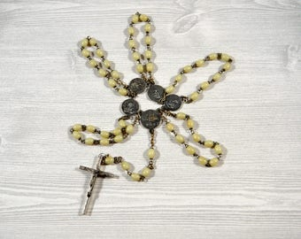 Vintage Papal Rosary Holy Year XXV Rosary Circa 1975 St. Peter St. John St. Paul St. Maria Papal Saints Rosary Glow In Dark Beads