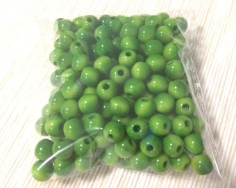 SALE, 185 x Tagua 7mm round beads, Green, Natural beads, Eco friendly, Hand made, Jewellery supplies