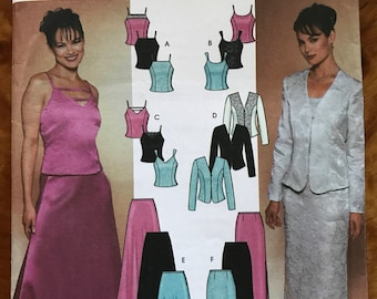 Simplicity 7010 - Evening Two Piece Dress with Camisole Style Top and Maxi Skirt with Princess Seamed Jacket - Size 14 16 18 20