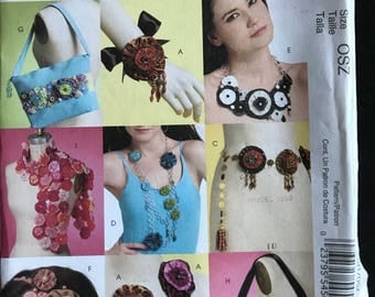 McCalls M5901 - Fashion Accessories Brooch Belt Necklace, Headband, Bag, and Scarf with Yoyo Flower Floret Trim