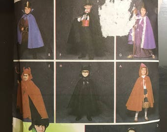 Simplicity 5927 - Child's Costume Collection including Cape, Cloak, and Hats - Size S M