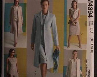 McCalls M4394 - Classic Fit Princess Seamed Sheath Dress and Top, Jacket, Duster, and Pants - Size 12 14 16 18