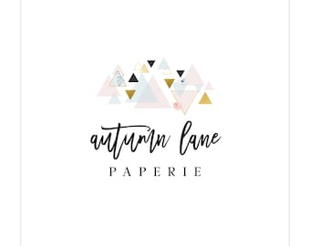 Premade Logo Design | Watercolor Logo | Photography Logo | Modern Logo | Watermark | Etsy Branding | Branding Package | Triangle Logo