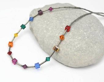 Swarovski Crystal Rainbow Necklace, Swarovski Necklace, Rainbow Gift for Her, Rainbow Jewellery, Rainbow Jewelry, Rainbow Birthday Gift