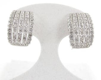 14k White Gold Diamond Earrings 1.00 ct Omega Back