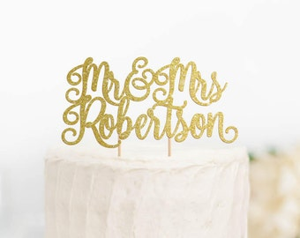 Mr and Mrs Cake Topper, Personalized Wedding Cake Topper, Custom Wedding Cake Topper, Mr & Mrs Cake Topper, Glitter Cake Topper