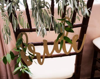 Bride & Groom Chair Signs, Wedding Chair Decoration Sign, Chairback Sign, Wood Rustic Decor, Calligraphy Chair Signs, Bride and Groom Signs