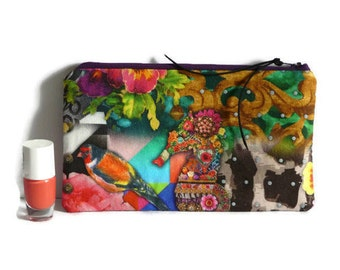 Boho pencil case, Ibiza cosmetic case, Small pouch, pen case, teacher gift, Stationary, sea horse print, pencil pouch,makeup pouch,