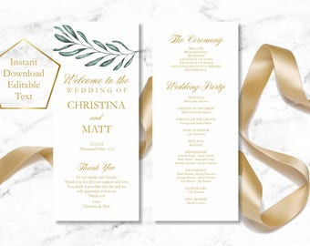 Greenery Wedding Program Template, Olive Tree Tealength Wedding Program, Instant Download wedding program template