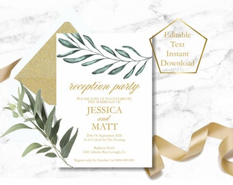 Reception Party Invitation Template, Greenery Reception Invitation, Gold Evening Reception Invitations, Wedding reception invitation