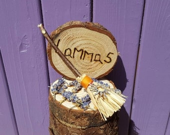 Lammas Besom, Miniature Broomstick, Pyrographed Sign, Dried Lavender, Lughnasadh Harvest, Pagan Home Decor, Wiccan Altar, Wheat Festival