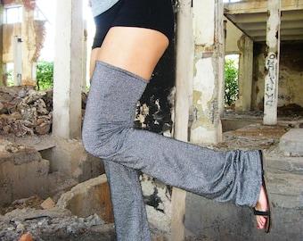 Glitter Gray High Leg Warmers, High Stockings, Flared Leg Warmers, Festivals Leg Warmers, Thigh Highs, Dance Wear