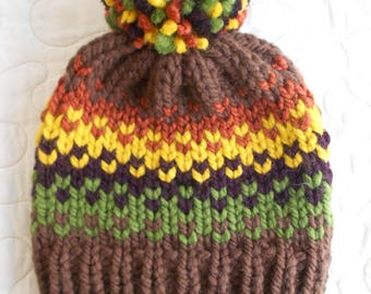 Fair Isle, Chunky Knit, Pom pom Hat, Knitted Beanie, Autum Fall Stripes Handmade in Alaska Gift for Her
