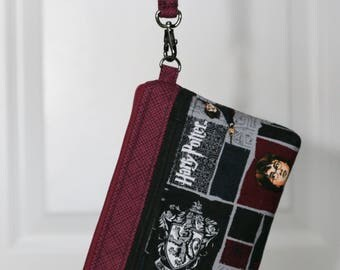 On The Go Wristlet - rare Harry Potter print - removable wrist strap, optional cross body strap - inside card slots