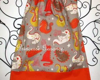 Back to school * bib, napkin, canteen, with elastic at the neck, cotton, baby dragons to order