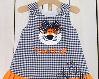 Ruffle Tiger A-Line Dress, Baby Girl A-Line Dress, Personalized Tiger Dress, Girly Gingham A-Line Dress