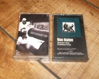 Van Halen Cassette Tape Set Women And Children First and VH3,  Hard Heavy Metal Guitar Music, David Lee Roth, Eddie Van Halen