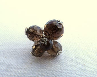 Brass ring and natural stones - Brown -