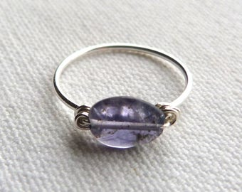 Fine silver ring 925 and blue natural stone - size 52.