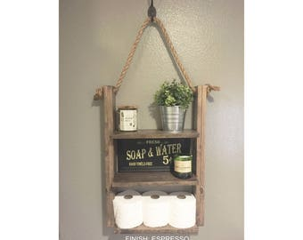 bathroom shelf hanging ladder shelf rustic wood and rope shelf