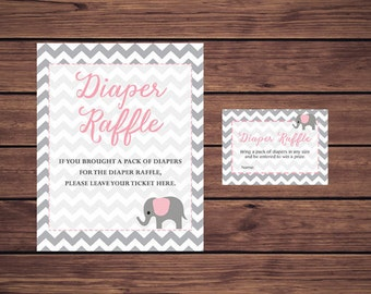Diaper Raffle Tickets, Pink and Gray Baby Shower Diaper Raffle Insert Card, Pink ElephantInstant Download  Printable227