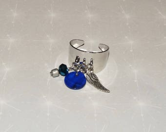 Silver ring silver plated Bangle with blue/wing sequin / beads, charms pendants marc deloche adjustable style