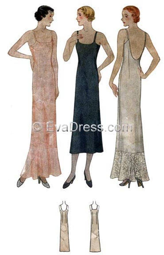 1930s Fashion Colors & Fabric 1932 Evening Slips Pattern by EvaDress $15.00 AT vintagedancer.com