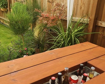 Six Seater Table and Benches with Drinks Cooler / Ice Box