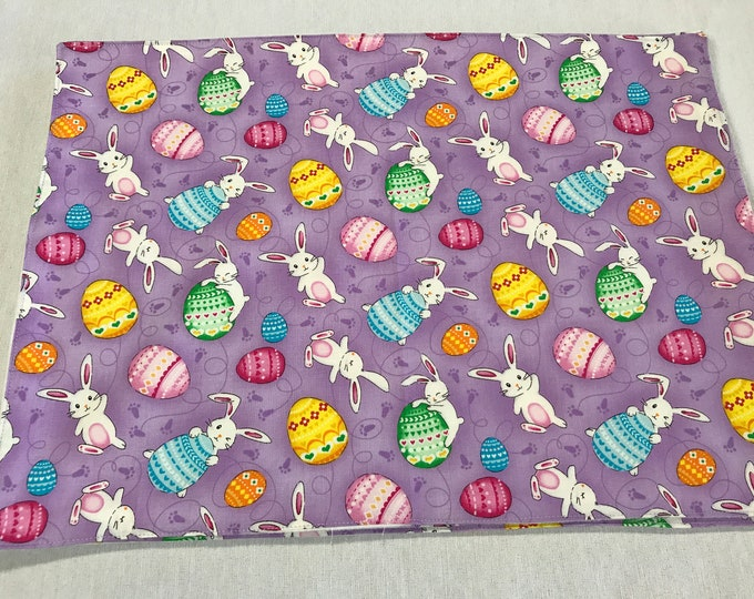 Easter Bunnies and Eggs, Easter Placemats, Easter Bunny Placemats, Easter Egg Placemats, Colorful Placemats, Playful Bunnies, Colored Eggs