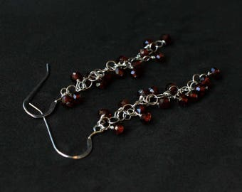 Garnet and sterling silver red casual dangle earrings - Lilly