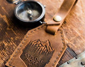 Leather Luggage Tag -- Mountain -- Travel Bag Luggage Tag Personalized luggage tag -- Made in Portland Gift for Men Travel Leather tag