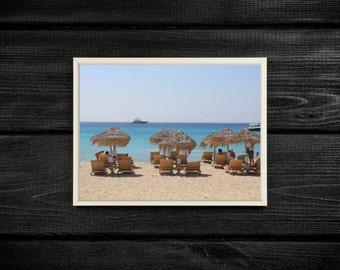 Calming Mediterranean Ocean View, Travel Photography Print Taken on a beach on Mykonos Island, Greece