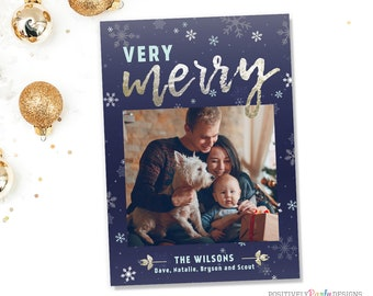 Very Merry Navy Snowflake Card - Christmas Picture Card - holiday photo card, holly, snowflakes, silver gold foil holiday card, 1 photo card