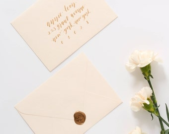 Guest Addressed Envelope in Gold Calligraphy | Weddings & Special Events