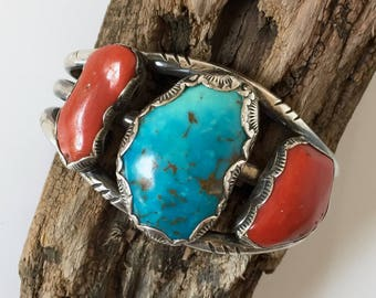 Turquoise and Coral Cuff Bracelet, Native American, Vintage Boho Jewelry