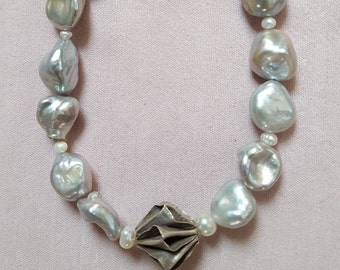 Gray beads with silver