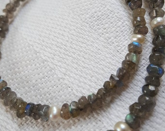 Labradorite with pearl necklace and bracelet