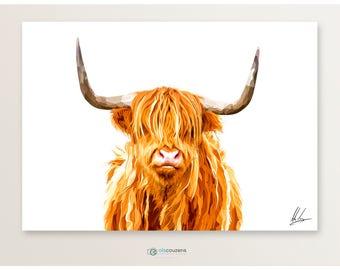 Highland Cow Print, Highland Cow, Scottish Art, Hairy Cow, Highland Cow Art, Art Print, Highland Cow Gift, Scottish Gift, Scottish Art
