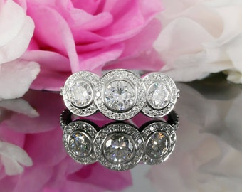 5mm and 4mm Moissanite Three Stone Halo Engagement Ring with Diamonds in 14K White Gold  (rose gold, yellow gold and platinum available)