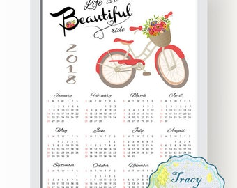SALE! Printable Wall Calendar, Instant Download 2018 Wall Calendar, Red Bicycle Wall Calendar 2018, Life is a beautiful ride Calendar 0507