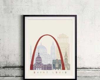 Saint Louis skyline poster - Fine Art Print Landmarks skyline Poster Gift Illustration Artistic Colorful Landmarks - SKU 2827