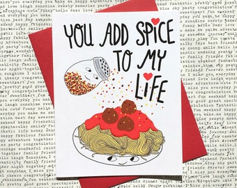 Funny Valentine Card, Funny Valentine Card For Her, Cute Valentine Card, Funny Valentine Card For Him, Valentine Card Husband, Spaghetti