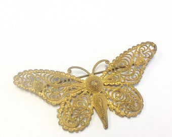Antique, early 1900s, filigree gilt metal, large, butterfly brooch.