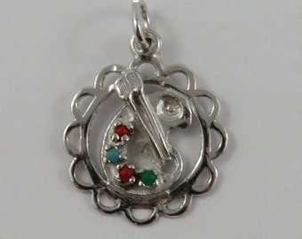 Painter's Palette with Stones & Brushes Sterling Silver Vintage Charm For Bracelet