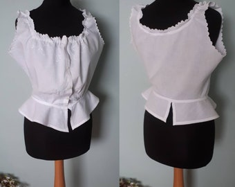 Victorian frilly camisole antique corset cover white cotton peplum petite to small Vintage lingerie underwear blouse in excellent condition