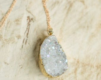 Druzy Crystal Cluster White Quartz Rainbow Gold Plated Pendant Gold Chain Necklace Boho Hippie Dipped Stone Bohemian Jewelry New Age