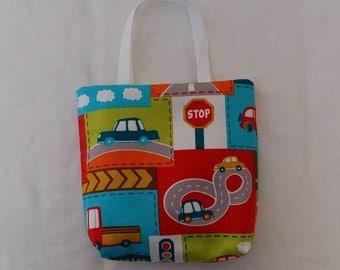 Fabric Gift Bag/ Party Favor Bag/ Goody Bag- Cars, Trucks, Road Signs